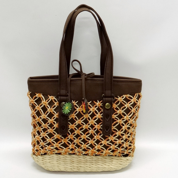 Lucky Brand Handbags - Lucky Brand Straw & Canvas Large Tote
